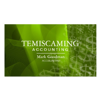 Accounting Business Card Green White Dollar Signs