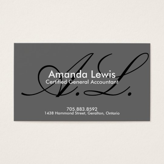 Accounting Business Card - Monogram Black & White
