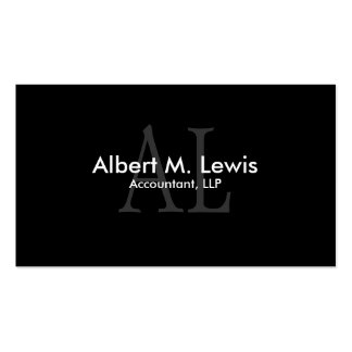 Accounting Financial Business Card Black Monogram
