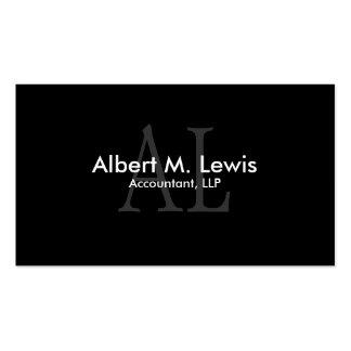 Accounting Financial Business Card Black Monogram