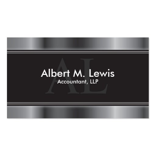 Accountant business cards business card templates page2 accounting financial business card silver monogram fbccfo Images
