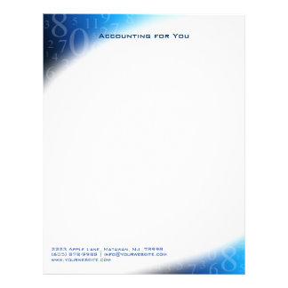 Accounting Letterhead Numbers Blue