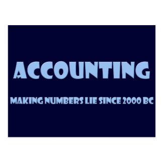 Accounting makes numbers lie postcard