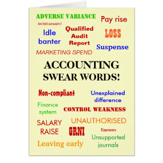 Accounting Swear Words! Accountant Humor Card