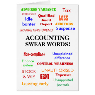 Accounting Swear Words! Birthday Card