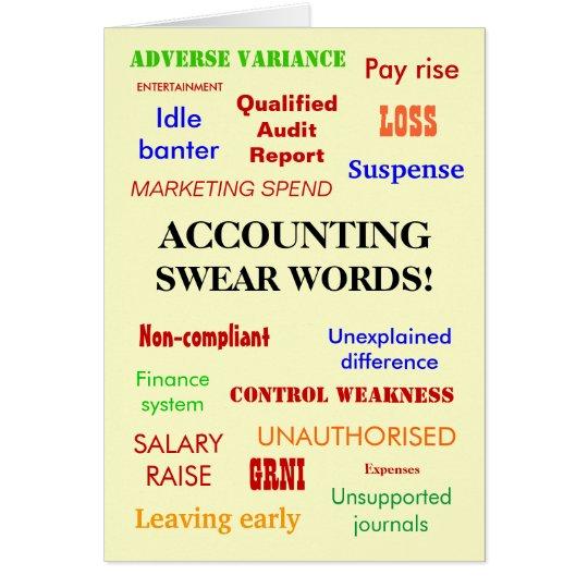 accounting swear words birthday card  zazzle, Birthday card