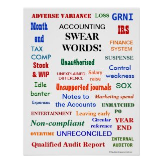 ACCOUNTING SWEAR WORDS Finance Office Humor Poster
