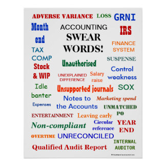 ACCOUNTING SWEAR WORDS ! Office Humor Poster