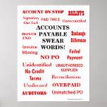 Accounts Payable Swear Words Annoying Joke Office Poster