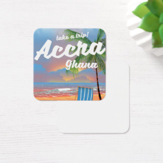 Accra Ghana beach travel poster Square Business Card