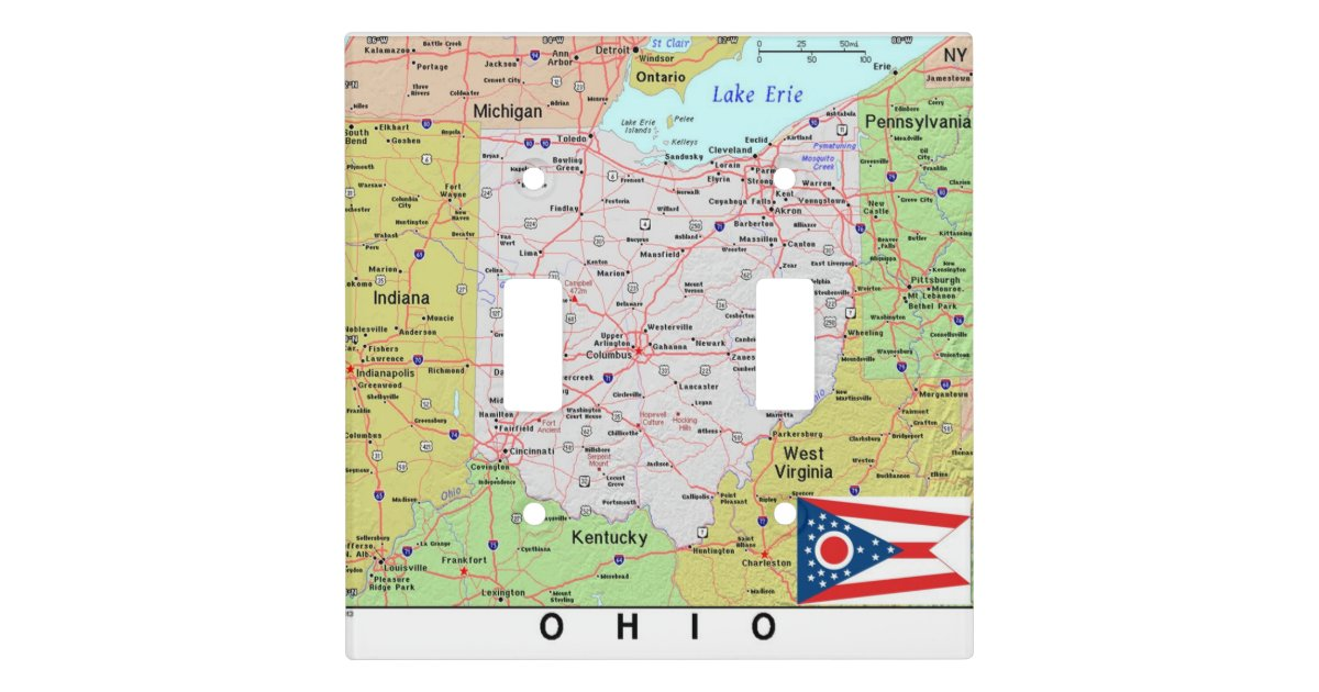 Accurate Ohio State Map And Flag Light Switch Cover | Zazzle.com