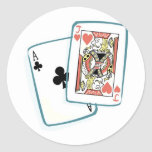 Ace and Jack Poker Cards Classic Round Sticker
