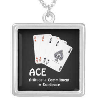 ACE Attitude + Commitment = Excellence Silver Plated Necklace