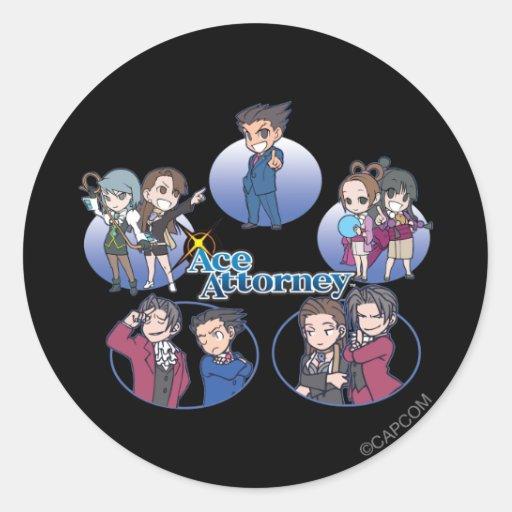 Ace Attorney Chibi's Classic Round Sticker