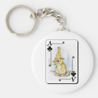 Ace of Clubs Basic Round Button Keychain