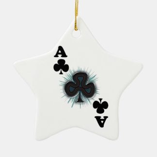 Ace of clubs Double-Sided star ceramic christmas ornament