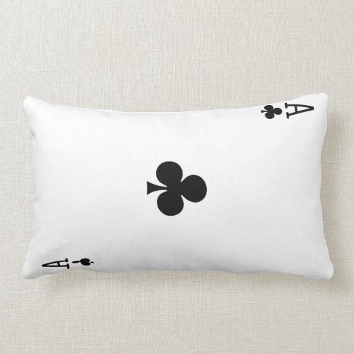Ace of Clubs Playing Card Pillow (Black Back)