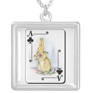 Ace of Clubs Square Pendant Necklace