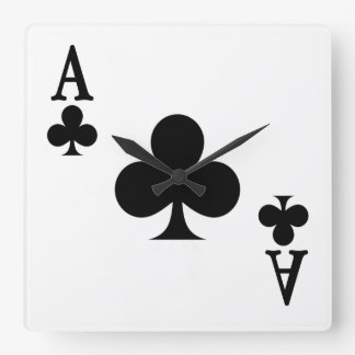 Ace of Clubs Square Wall Clock