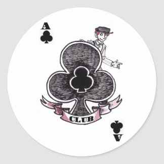 Ace of Clubs Round Sticker