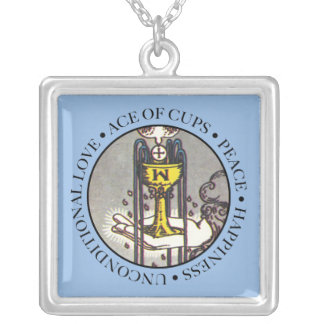 Ace of Cups Square Necklace with Text