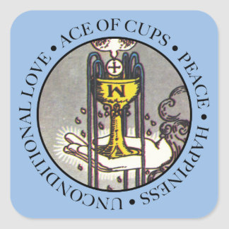 Ace of Cups Square Sticker with Text