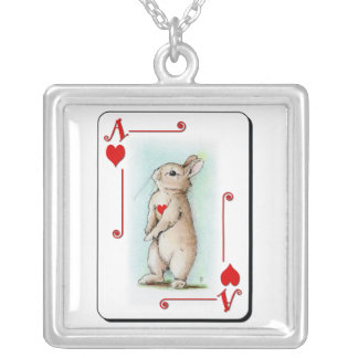 Ace of Heart Square Pendant Necklace