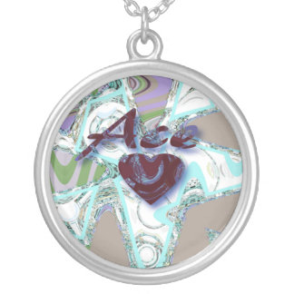 Ace of Hearts Abstract Round Pendant Necklace