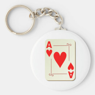Ace of Hearts Playing Card Keychain