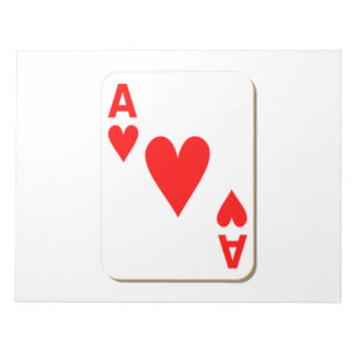 Ace of Hearts Playing Card Note Pad