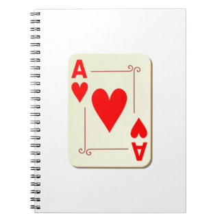 Ace of Hearts Playing Card Spiral Note Books