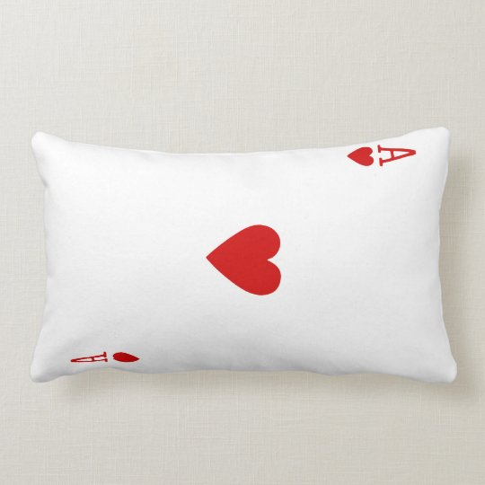 Ace of Hearts Playing Card Pillow (Black Back)