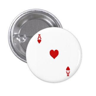 Ace of Hearts Playing Card Pinback Button