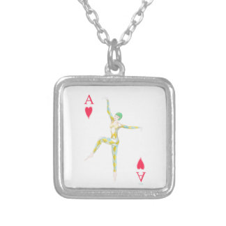 ace of hearts vintage art deco style playing card silver plated necklace