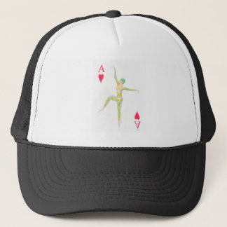 ace of hearts vintage art deco style playing card trucker hat