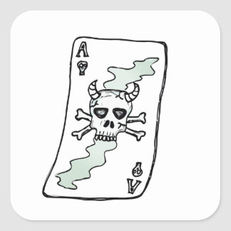 ace of skulls square sticker