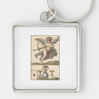 ACE OF SPADES - CUPID OF CUPS Vintage Card print Keychain