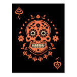 Ace of Spades Day of the Dead Sugar Skull Postcard