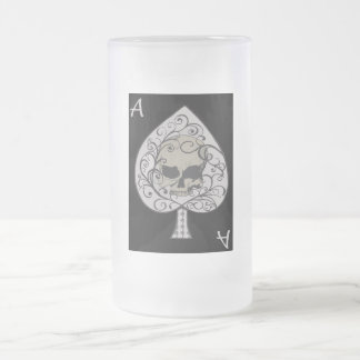 Ace of Spades Decorative Frosted Glass Mug