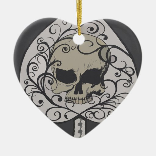 Ace of Spades Decorative Skull Double-Sided Heart Ceramic Christmas Ornament