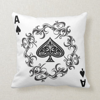 Ace of Spades Fiery Full Card Throw Pillow