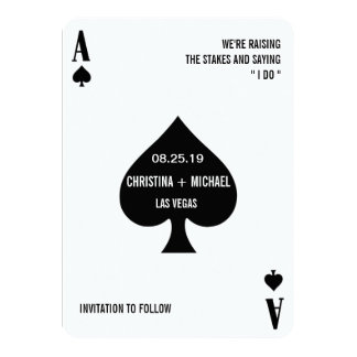 Ace of Spades Modern Chic Photo Save The Date Card