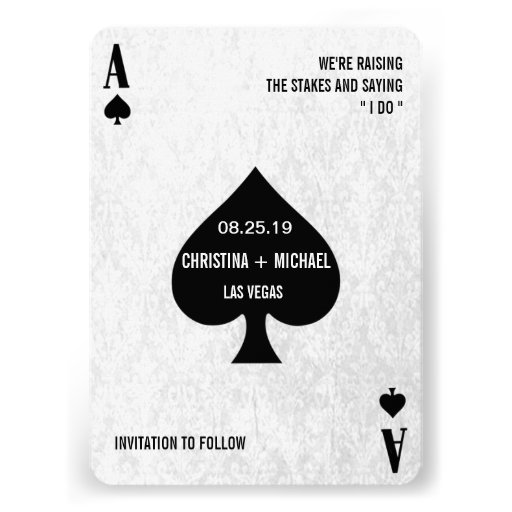 Ace of Spades Modern Chic Photo Save The Date Personalized Invite