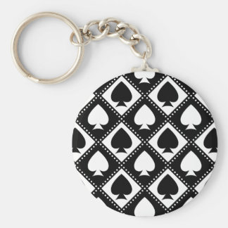 Ace of Spades Motif Basic Round Button Keychain