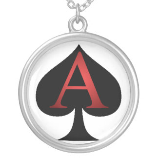Ace Of Spades Playing Cards Round Pendant Necklace