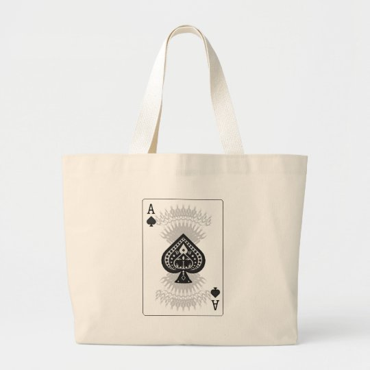 Ace of Spades Poker Card: Large Tote Bag