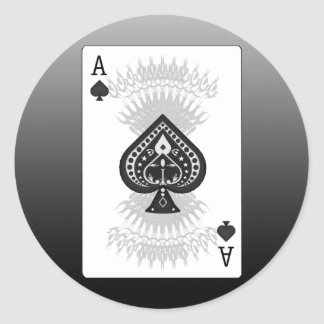 Ace of Spades Poker Card: Classic Round Sticker