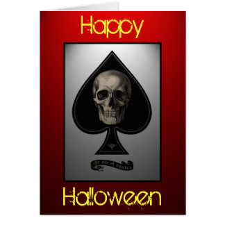 Ace of Spades Skull Halloween Card