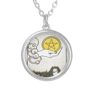 Ace Pentacles Fortune Teller Tarot Card Round Pendant Necklace