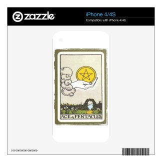 Ace Pentacles Fortune Teller Tarot Card Skin For The iPhone 4